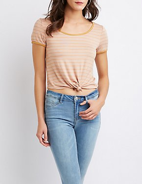 Striped Knot-Front Ringer Tee