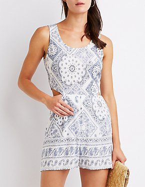 Paisley Cut Out Romper