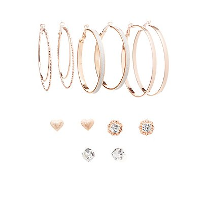 Embellished Hoop & Stud Earrings - 6 Pack