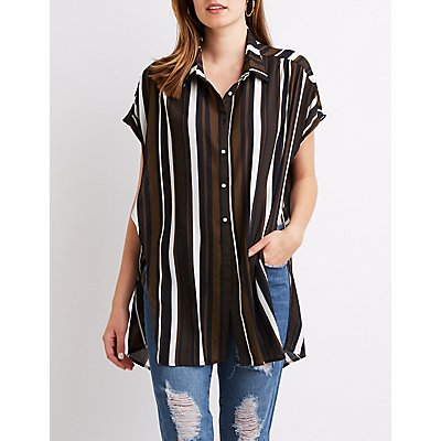 Striped Button-Up Tunic Top