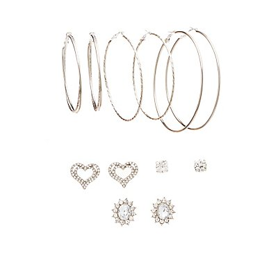 Embellished Hoop & Stud Earrings - 6 Pack at Charlotte Russe in Cypress, TX | Tuggl