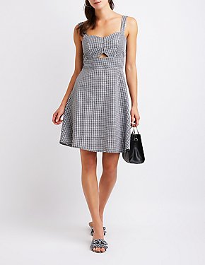 Gingham Cut Out Sun Dress