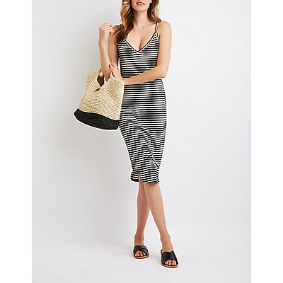 Striped Tie-Back Bodycon Midi Dress