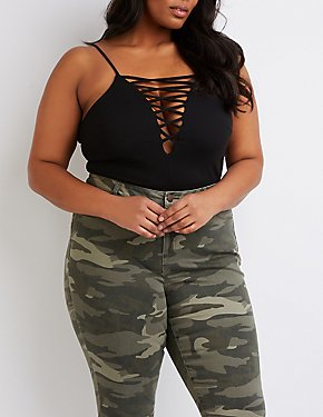 Plus Size Lattice-Front Bodysuit