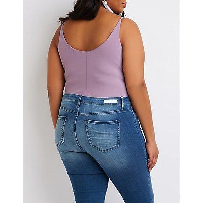 Plus Size Lattice-Front Bodysuit