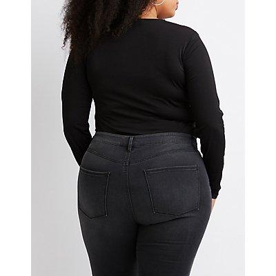 Plus Size Twist Knotted Bodysuit