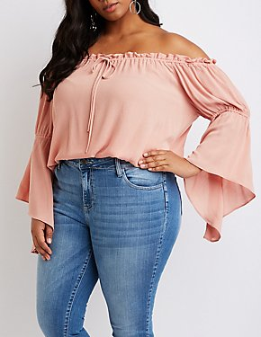 Plus Size Ruffle-Trim Off-The-Shoulder Bell Sleeve Top