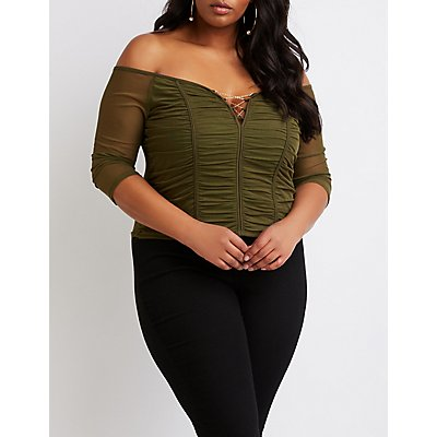 Plus Size Mesh Ruched Chainlink Top