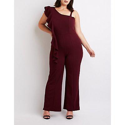 Plus Size Ruffle One-Shoulder Jumpsuit