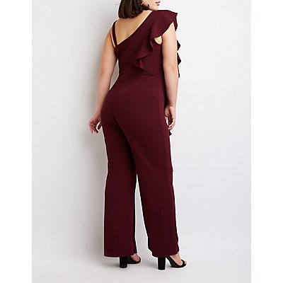 Plus Size Ruffle One-Shoulder Jumpsuit