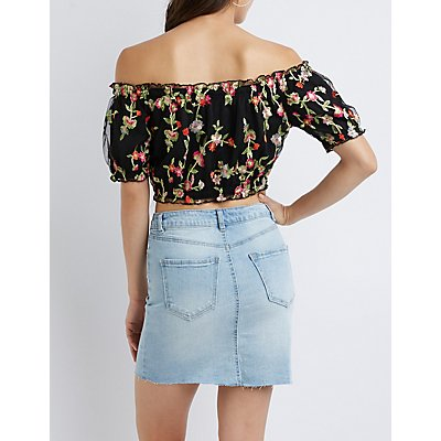 Floral Off-The-Shoulder Crop Top