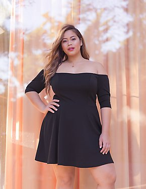 Plus Size Off-The-Shoulder Skater Dress