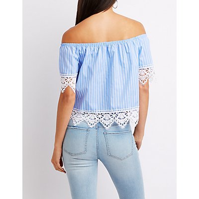 Striped Crochet-Trim Off-The-Shoulder Top