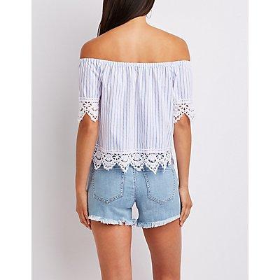 Striped Crochet-Trim Off-The-Shoulder Top