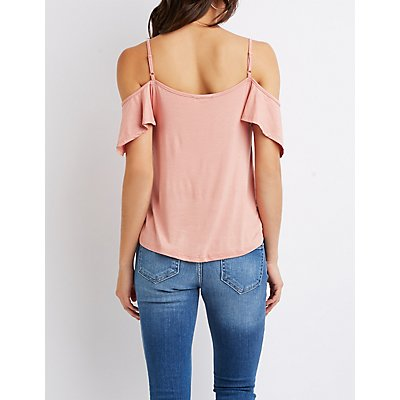 Ruffle-Trimmed Cold Shoulder Top