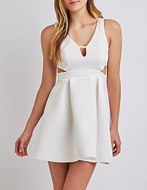 Cut-Out Pleated Skater Dress