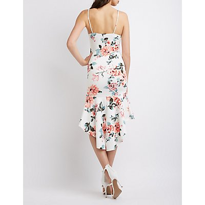 Floral High-Low Bodycon Dress