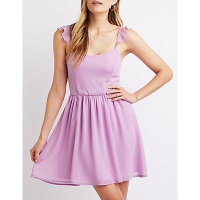 Ruffle-Trimmed Skater Dress