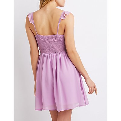 Ruffle-Trimmed Skater Dress