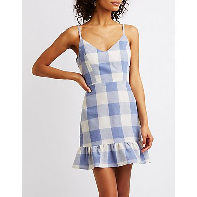 Gingham Print Ruffle-Trim Dress
