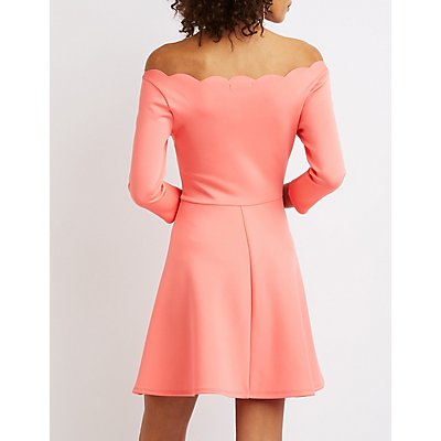 Scalloped Off-The-Shoulder Skater Dress