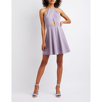 Cut Out Bib Neck Skater Dress