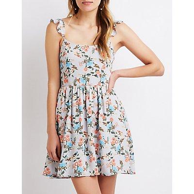 Floral Ruffle-Trimmed Skater Dress