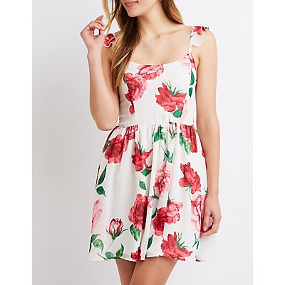 Floral Ruffle-Trimmed Skater Dress