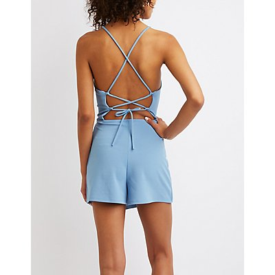Lace-Up Back Skort Romper