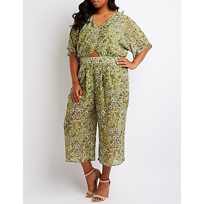Plus Size Floral Cut Out Jumpsuit