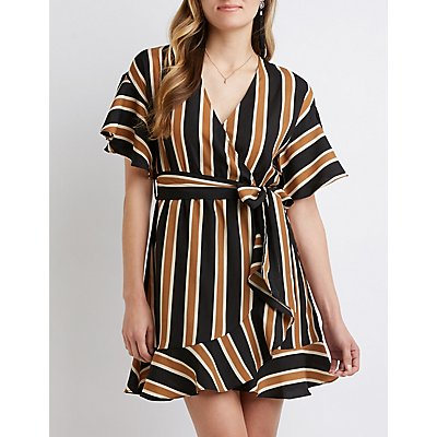 Striped Flutter Sleeve Wrap Dress