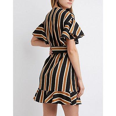 Striped Flutter Sleeve Wrap Dress
