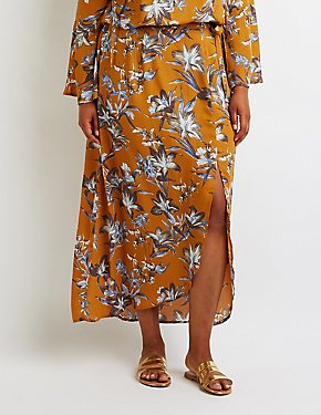 Plus Size Floral Side Slit Maxi Skirt