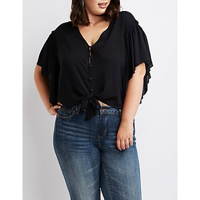 Plus Size Ruffle Button-Up Top