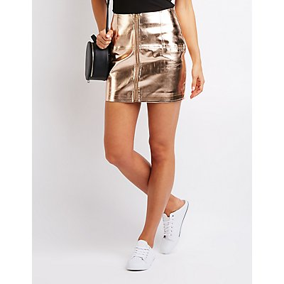 Metallic Zip Up A Line Skirt