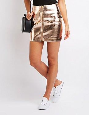 Metallic Zip Up A Line Skirt
