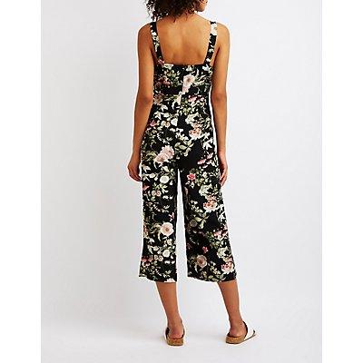 Floral Lace-Up Jumpsuit