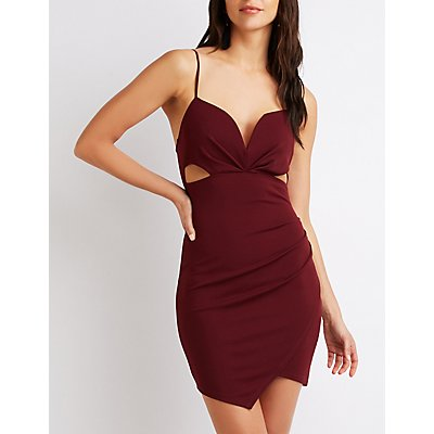 Faux Wrap Cut-Out Dress