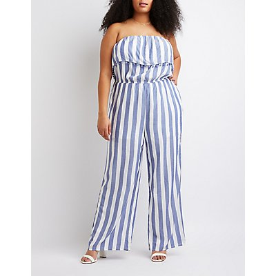 Plus Size Striped Foldover Jumpsuit
