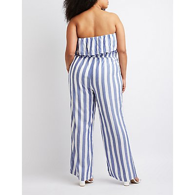 Plus Size Striped Foldover Jumpsuit