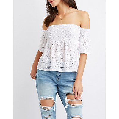 Off-The-Shoulder Smocked Top