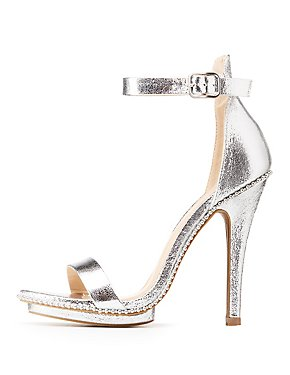 Metallic Studded Ankle Strap Sandals