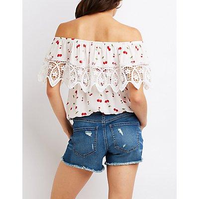 Cherry Print Crochet-Trim Off-The-Shoulder Top