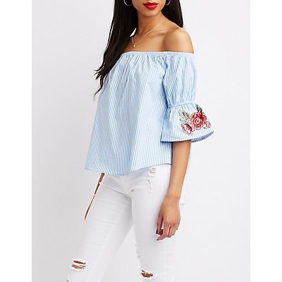 Embroidered & Striped Off-The-Shoulder Top