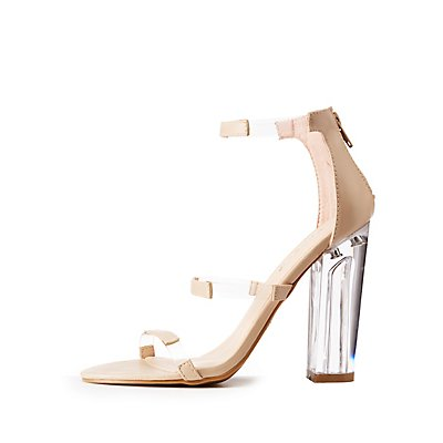 Bamboo Clear Block Heel Sandals