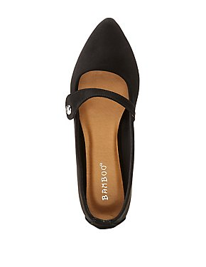 Bamboo Faux Suede Pointed Toe Flats