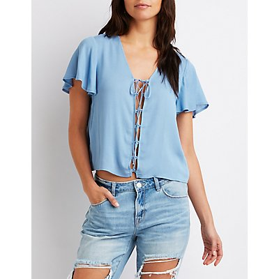 Lace-Up Short Sleeve Top