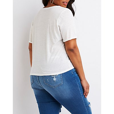 Plus Size Scoop Neck Crop Tee