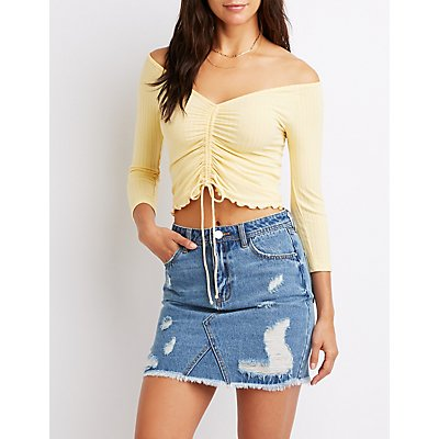 Ribbed & Ruched Tie-Front Top