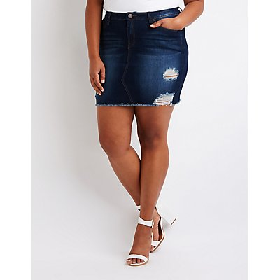 Plus Size Refuge Destroyed Denim Skirt